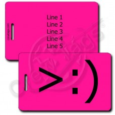 PERSONALIZED LITTLE DEVIL EMOTICON LUGGAGE TAG >:) NEON PINK